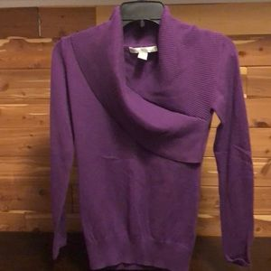 Purple v-neck cowl sweater